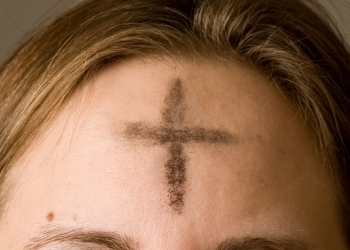 ashes imposed on the forehead of a Christian on Ash Wednesday; photographed on 22 February 2012 by Jennifer Balaska; swiped from Wikimedia Commons