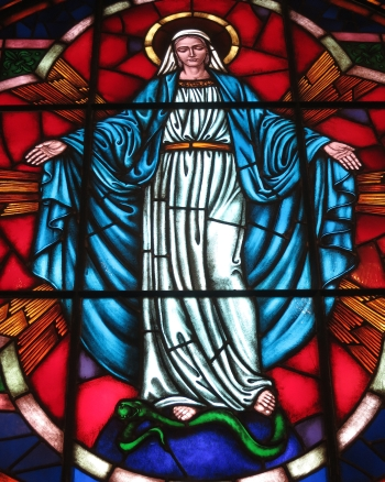 detail of a stained glass rose window of Our Lady of the Immaculate Conception; date unknown, artist unknown; Saint Nicholas Catholic Church, Zanesville, Ohio; photographed on 31 December 2014 by Nheyob; swiped from Wikimedia Commons; click for source image