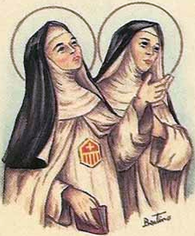 detail of an antique Italian holy card of Blessed Elisabetta and Blessed Maria del Paradiso, by Bertoni, date unknown; swiped from Santi e Beati