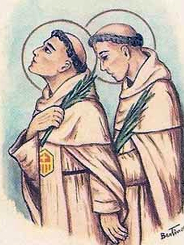 detail of an antique Italian holy card of Blessed Pedro of Santa Maria and Blessed Simone de Lara, by Bertoni, date unknown; swiped from Santi e Beati