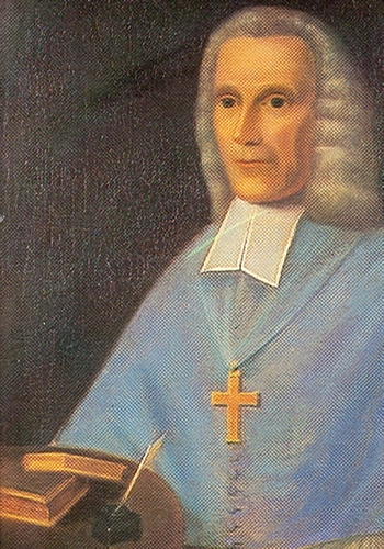 detail of an 18th century painting of Bishop Richard Challoner, artist unknown