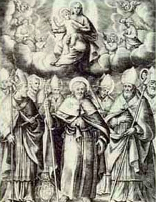 detail of an antique holy card of the first bishops of Agrigento, Italy, date and artist unknown; swiped from Santi e Beati