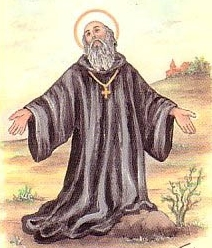 detail of an Italian holy card of Blessed Adam of San Sabine, artist unknown, date unknown; swiped from Santi e Beati