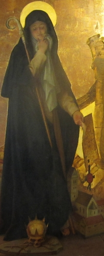 detail of a painting of Blessed Adelindis of Buchau, by Karl Baumeister, 1895; Saint Johann Bapist auf dem Bussen church; photographed on 27 June 2012 by Bene16; swiped off Wikimedia Commons