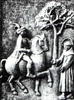 bas relief image of Blessed Angelo Tancredi, while still a knight, meeting Saint Francis of Assisi, date and artist unknown; swiped from Santi e Beati
