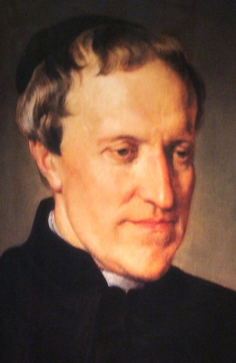 detail of a portrait of Blessed Antonio Rosmini-Serbati by Francesco Hayez; Pinacoteca di Brera, Milan, Italy; swiped from Wikimedia Commons; click for source image