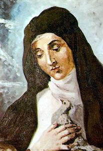 detail of a holy card of Blessed Archangela by Spanish Carmelite Rafael Lopez-Melus