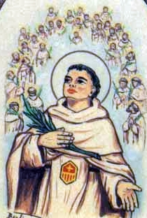 detail from an antique Italian holy card of Blessed Arnaldo Serra; swiped from Santi e Beati