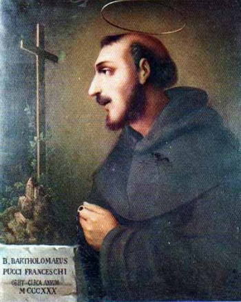 detail of a painting of Blessed Bartolomeo Pucci-Franceschi, date and artist unknown; swiped from Santi e Beati