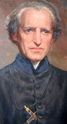detail of an official portrait of Blessed Basil Anthony Marie Moreau, 1955, artist unknown; Blessed Basil Anthony Marie Moreau; swiped off Wikimedia Commons