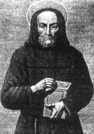 detail of an illustration of Blessed Benedetto Sinigardi da Arezzo, date and artist unknown; swiped from Santi e Beati