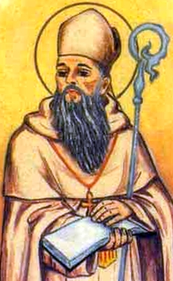 detail of an antique Italian holy card of Blessed Bernardo Montagudo by Bertoni, date unknown; swiped from Santi e Beati