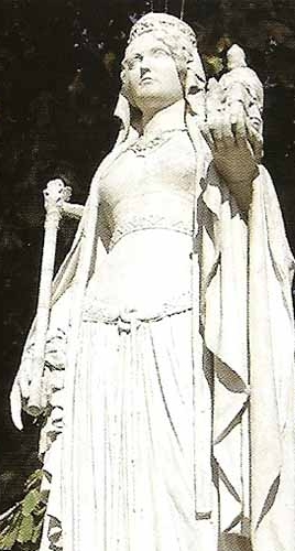 detail of a statue of Blessed Bertrada holding a smaller statue of Blessed Charlemagne; date and artist unknown; swiped from Santi e Beati