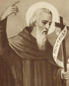 detail from an antique Blessed Bonaventure holy card, artist unknown