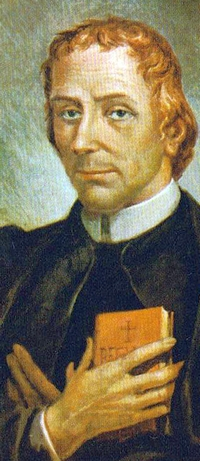 detail of a painting of Blessed Carlo Steeb; 1820 by Aronne Del Vecchio; swiped from Wikimedia Commons; click for source image