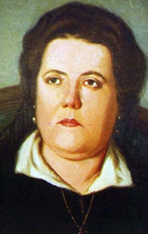 detail of a portrait of Blessed Carmen Marie Anne García Moyon, date and artist unknown; swiped from Santi e Beati