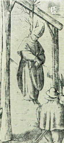 detail of an old engraving of the execution of Blessed Dermot O'Hurley, date and artist unknown; swiped from the AusMaria web site; click for source image