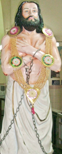 detail of a photograph of a statue of Blessed Devasahayam Pillai, artist unknown, date unknown; Saint Francis Xavier Cathedral, Kottar, Nagercoil, India; photographed by Kumbalam on 5 July 2013; swiped off Wikimedia Commons