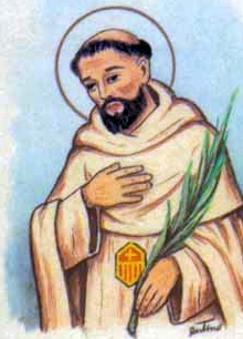detail of an Italian holy card of Blessed Diego Martinez by Bertoni, date unknown; swiped from Santi e Beati