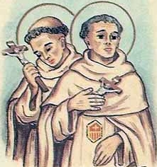 detail of an Italian holy card of Blessed Dominco de Molinar and Blessed Gaspare di Salamanca by Bertoni, date unknown; swiped from Santi e Beati