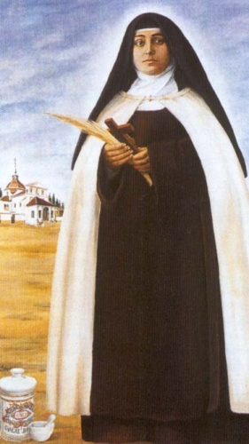 detail of a painting of Blessed Elvira Moragas Cantarero, date and artist unknown; swiped from Santi e Beati
