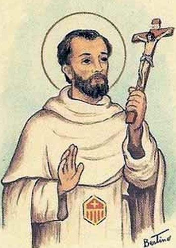 detail of an antique Italian holy card of Blessed Francesco Matienzo, by Bertoni, date unknown; swiped from Santi e Beati