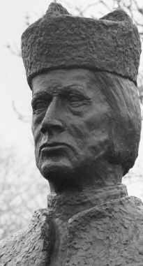photograph of a detail of a statue of Blessed Frederick of Hallum, Hallum, Netherlands, artist unknown; swiped from Wikimedia Commons