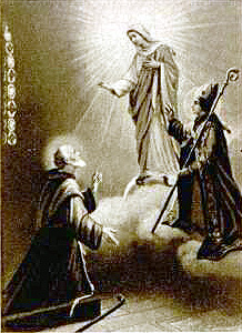 holy card of Blessed Gerard Cagnoli receiving a vision; artist unknown; thanks essepi