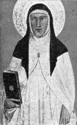 detail of an Italian holy card of Blessed Gerardesca, date and artist unknown; swiped from Santi e Beati
