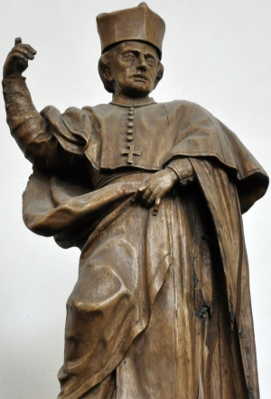 statue of Blessed Gilbert of Neuffontaines; from the workshops of Georg Anton Machein, 1715-1717; church of Saint Magnus, Bad Schussenried, Germany; photographed in September 2011 by Andreas Praefcke; swiped from Wikimedia Commons; click for source image