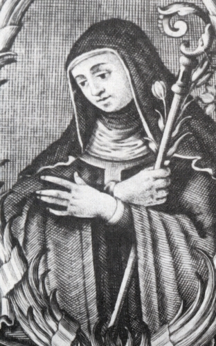 copper engraving of Blessed Giuliana of Collalto by Antonio Menegon; scanned from the book 'Collalto'; swiped from Wikimedia Commons