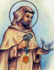 detail of an antique Italian holy card of Blessed Gonzalo Diaz di Amarante by Bertoni, date unknown; swiped from Santi e Beati