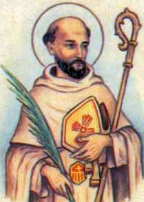 detail of an antique Italian holy card of Blessed Gonzalo Mercador by Bertoni, date unknown; swiped from Santi e Beati