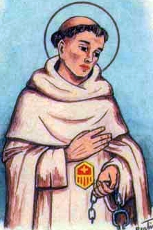 detail of an antique Italian holy card of Blessed Guillermo Giraldi by Bertoni, date unknown; swiped from Santi e Beati