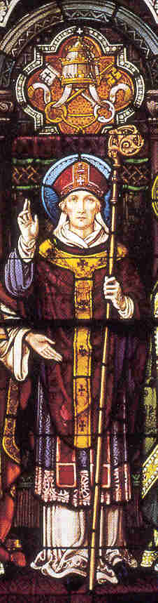photograph of a stained glass window of Saint Hugh from the Saint Meinrad Abbey, Saint Meinrad, Indiana, USA; thanks to Shawn Henderson; pray for his vocation