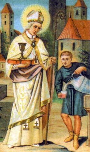 detail of a holy card image of Blessed Isfrid of Ratzeburg about to change water to wine; swiped from Santi e Beati