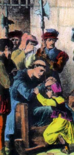 detail of a holy card of Blessed James Fenn at his execution, date and artist unknown; swiped from Santi e Beati