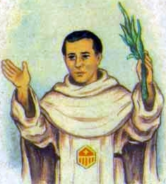 detail of an Italian holy card of Blessed Jesús Eduard Massanet Flaquer by Bertoni, date unknown; swiped from Santi e Beati