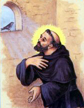 detail of an antique Italian holy card of Blessed Giovanni of Rieti by Bertoni, date unknown; swiped from Santi e Beati