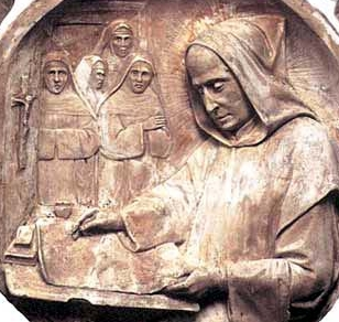 detail of a bas-relief roundel of Blessed John the Spaniard, date and artist unknown; swiped from Santi e Beati; click for source image