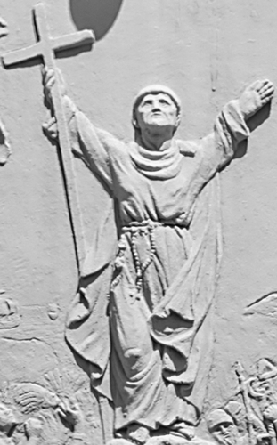 detail of a bas-relief of Blessed Junipero Serra; date and artist unknown; Balboa Park, San Diego, California, USA; photographed on 12 May 2007 by Michael Seljos; swiped from Wikimedia Commons; click for source image