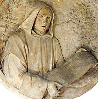 detail of a bas-relief medallion of Blessed Lanunio, date and artist unknown; swiped from Santi e Beati