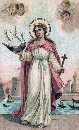 detail of an antique Italian holy card of Blessed Limbania, date and artist unknown