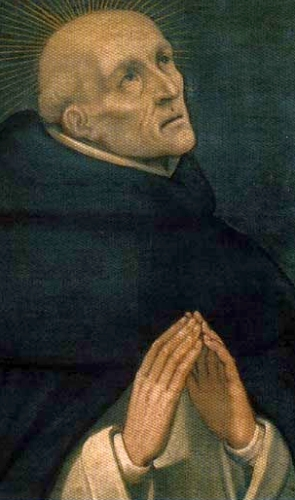 detail from an antique Italian holy card of Blessed Lorenzo of Ripafratta, date and artist unknown; swiped from Santi e Beati