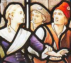detail of a stained glass window depicting the arrest of Blessed Louise Déan de Luigné; c.1910 by Jean Clamens; church of Saint-Louis-du-Champ-des-Martyrs, Avrillé, France; swiped from Wikimedia Commons; click for source image