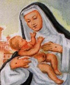 detail of an Italian holy card of Blessed Lucy of Narni