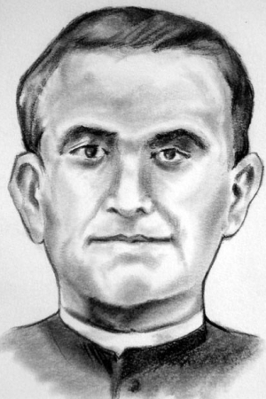 detail of an illustration of Blessed Luis Aguirre Bilbao, date and artist unknown; swiped from Santi e Beati; click for source image