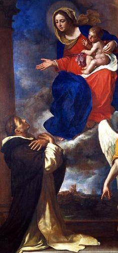 detail of the painting 'Madonna col Bambino con il Beato Marcolino Amannai da Forli ed un angelo' by Guercino, date unknown; swiped from Santi e Beati