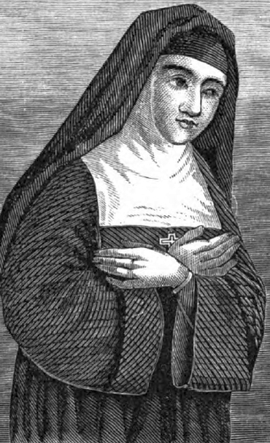 illustration of Blessed Margaret Mary Alocoque, artist unknown, printed in the 1874 Illustrated Catholic Family Annual, artist unknown