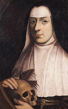 detail of a painting of Blessed Margaret of Lorraine; artist and date unknown; swiped from Wikimedia Commons; click for source image